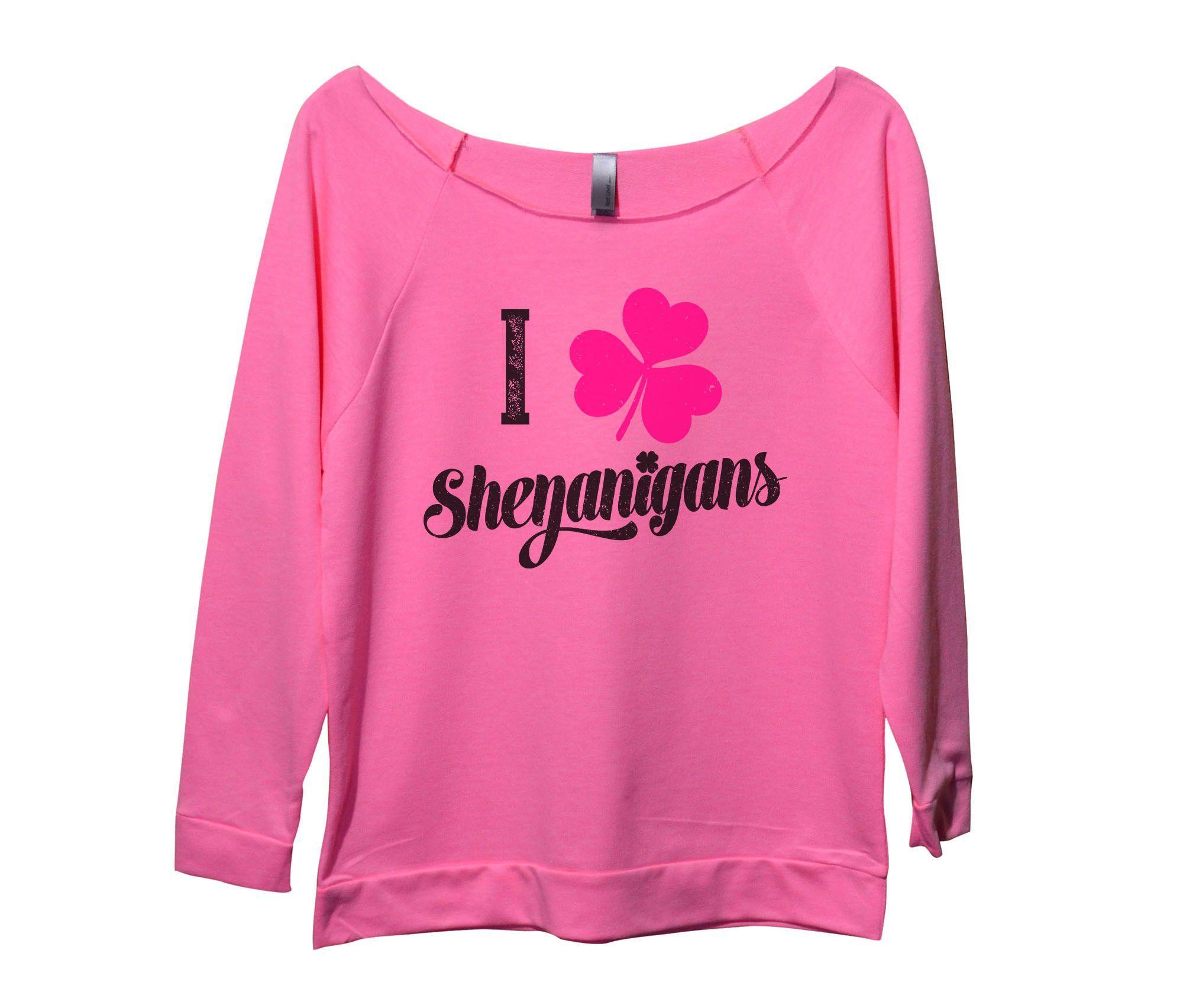 I Clover Shenanigans Womens 3/4 Long Sleeve Vintage Raw Edge Shirt