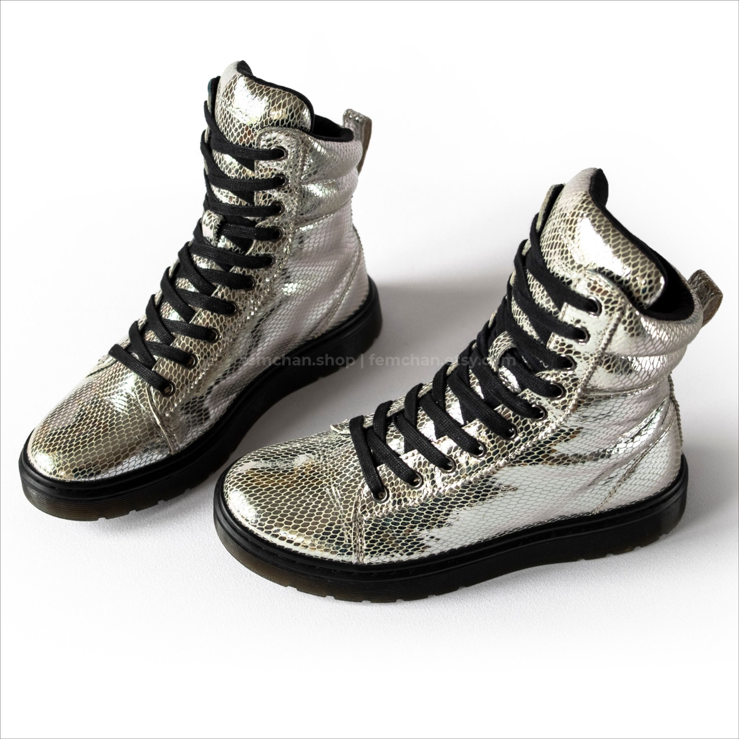dr martens silver metallic snake