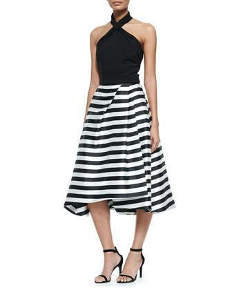 Ponte Knit Cross-Front Halter Top & Striped Full Skirt with Pleats by Nicholas at Neiman Marcus.