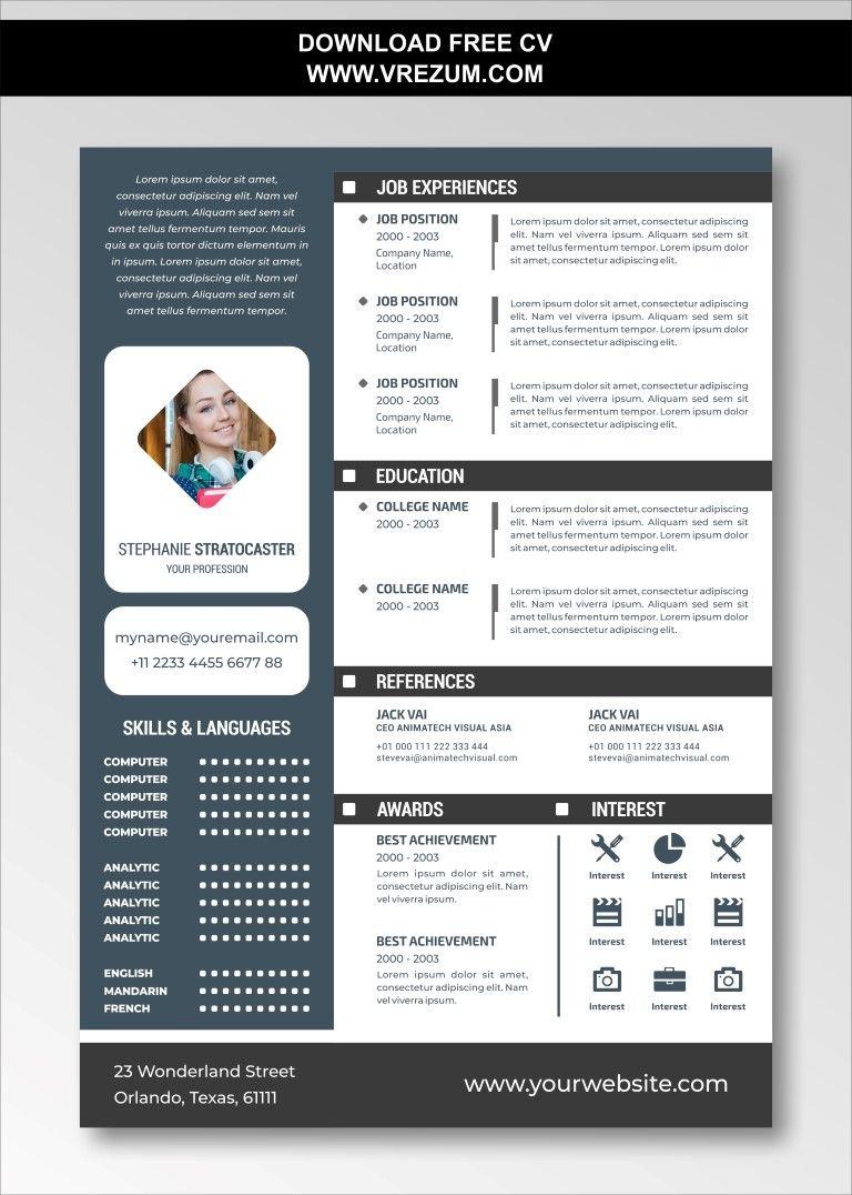 Editable Free Cv Templates For Experienced Cv Template Free Cv Template Resume Template Free
