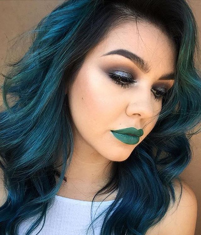Dark Teal Hair And Green Lipstick