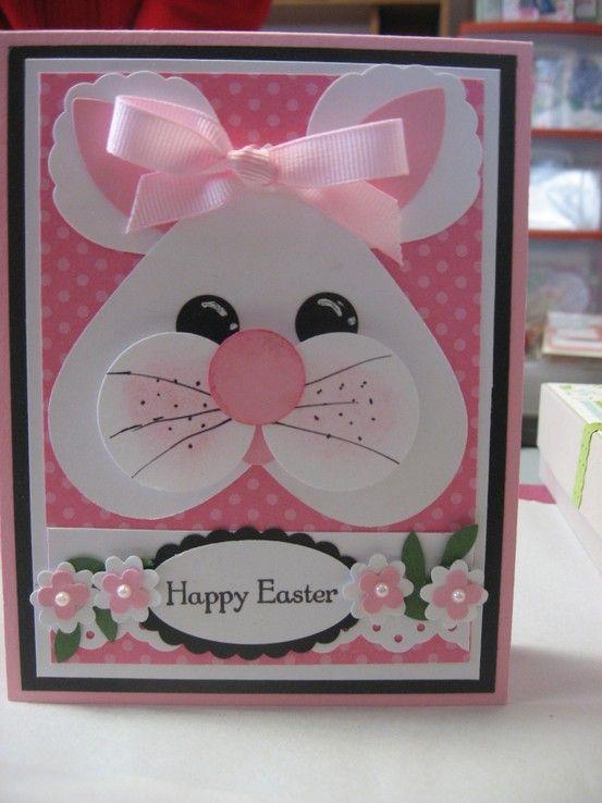 Handmade Easter Card Adorable Punch Art Bunny Face Cute