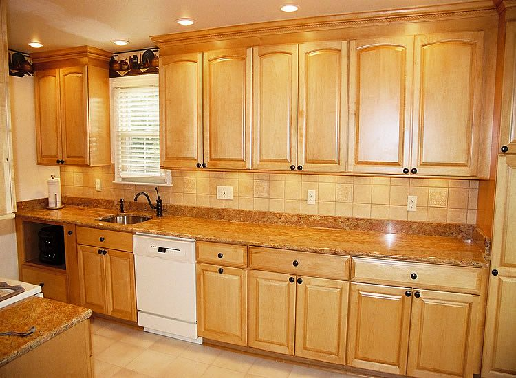 Golden oak cabinets with white appliances maple arched for Maple kitchen cabinets