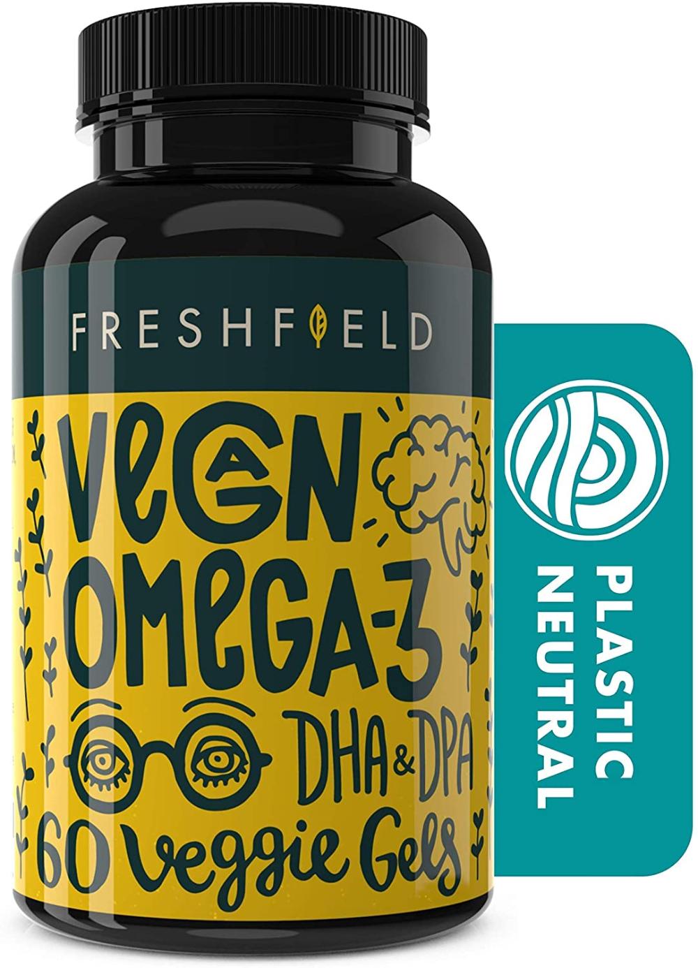 Amazon Com Freshfield Vegan Omega 3 Dha Supplement 2 Month Supply Premium Algae Oil Plant Based Sustainable Mer In 2020 Vegan Vitamins Supplements Dha Supplement