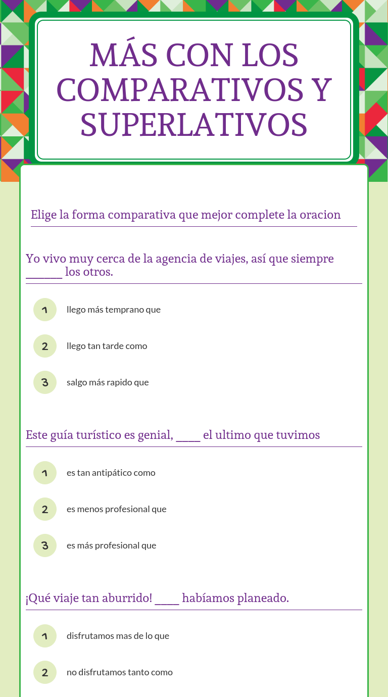 worksheet Comparatives In Spanish Worksheets wizer me blended worksheet con los comparativos y superlativos spanish
