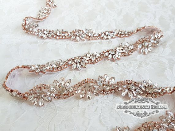 Thin bridal belt, Rose gold belt, rose gold bridal belt, rose gold, rose gold sash, Embellished belt, skinny belt, Bridal belt, Wedding belt