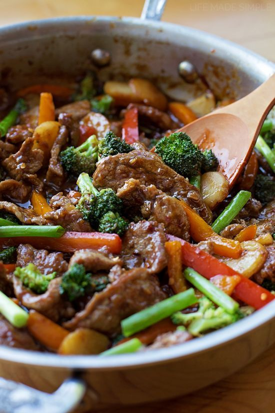 Mongolian Beef Stir Fry Made In 30 Minutes Life Made Simple Recipe Healthy Recipes Beef Recipes Recipes
