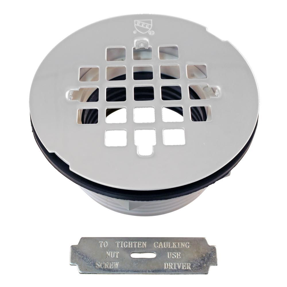 Westbrass 2 In Pvc Shower Drain Assembly And Grid White Shower