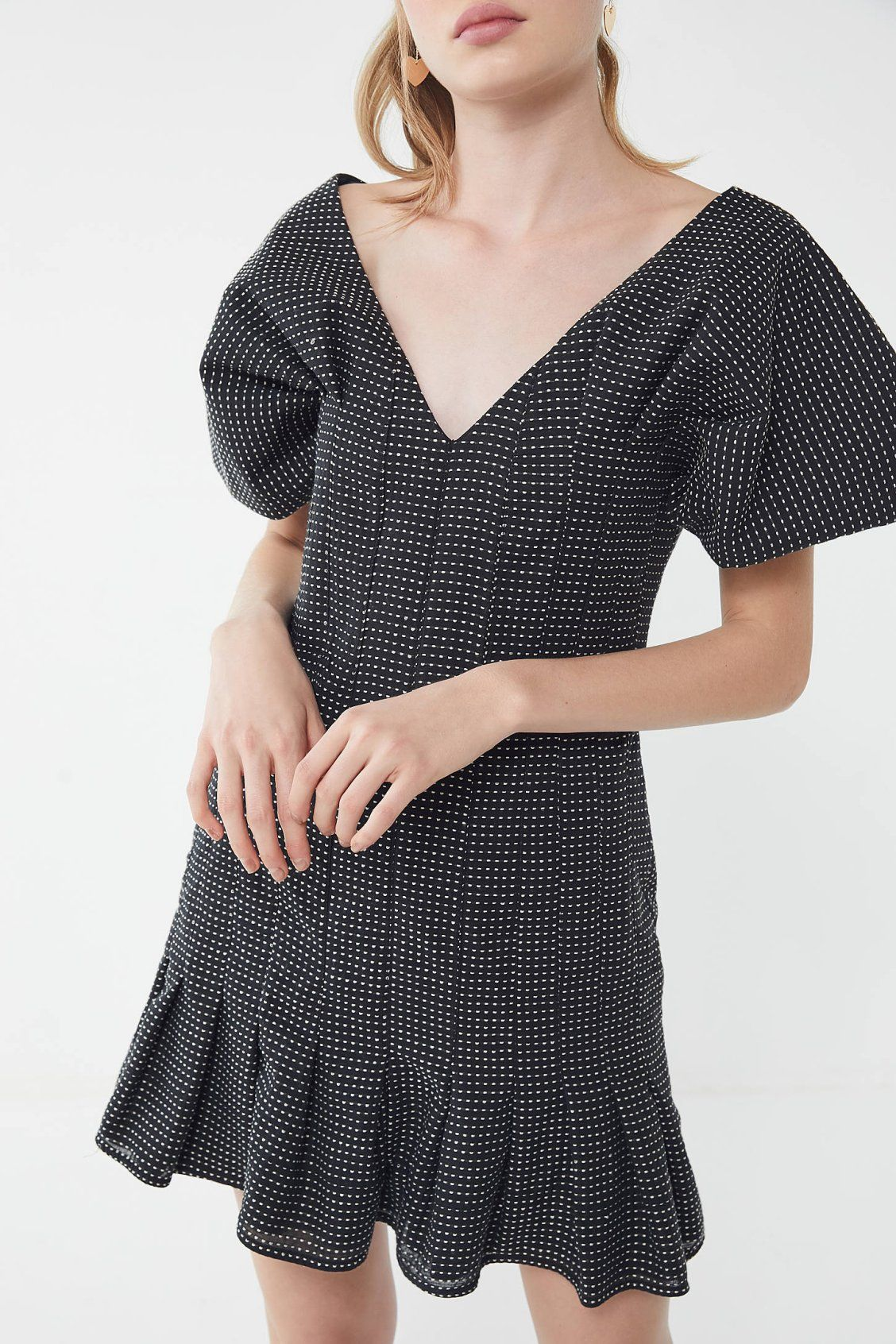 Keepsake mercy dotted puff sleeve dress urban outfitters