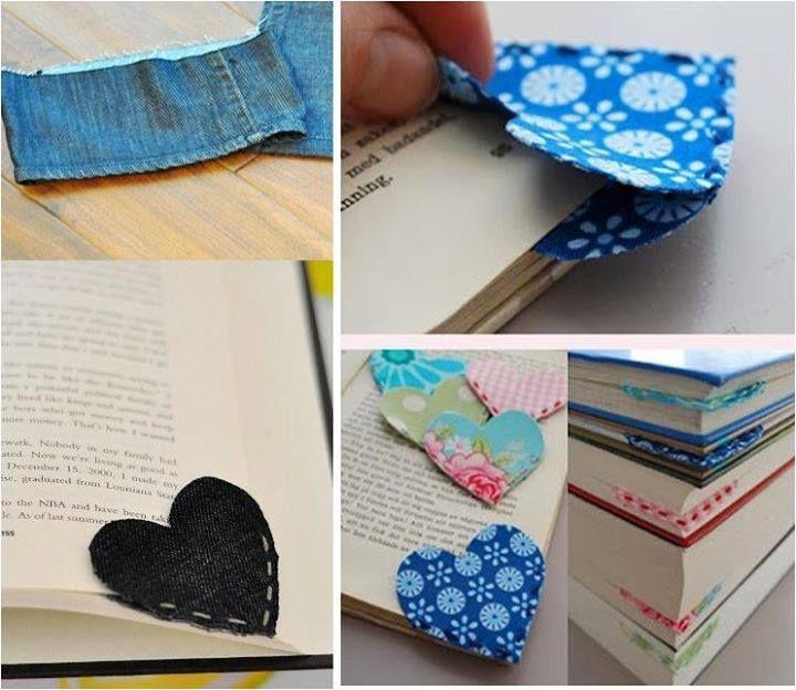 Marcador de livro feito com sobras de jeans ou tecido