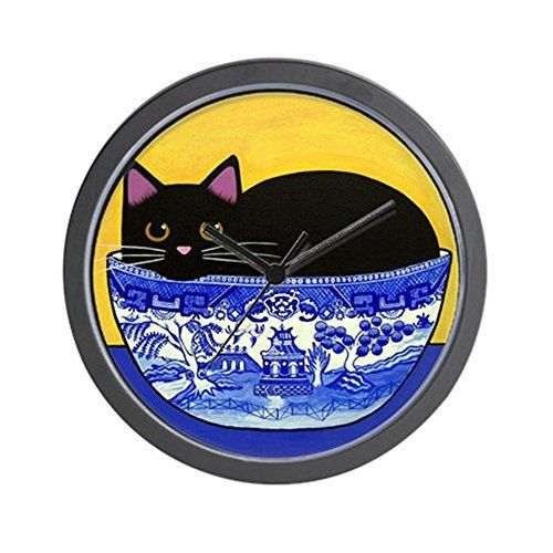 Cat Kitchen Decor  Cat Kitchen Clock  Black CAT Blue Willow Bowl Folk ART  Wall