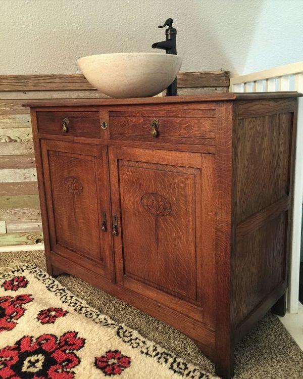 Antique vanity with stone vessel sink for sale in san - Antique bathroom vanities for sale ...