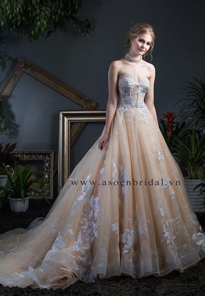 cho thuê may váy cưới màu vàng đồng tại Sài Gòn - Asoẻn Bridal
