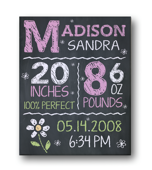 Birth Stats Wall Art Canvas, Birth Announcement Canvas