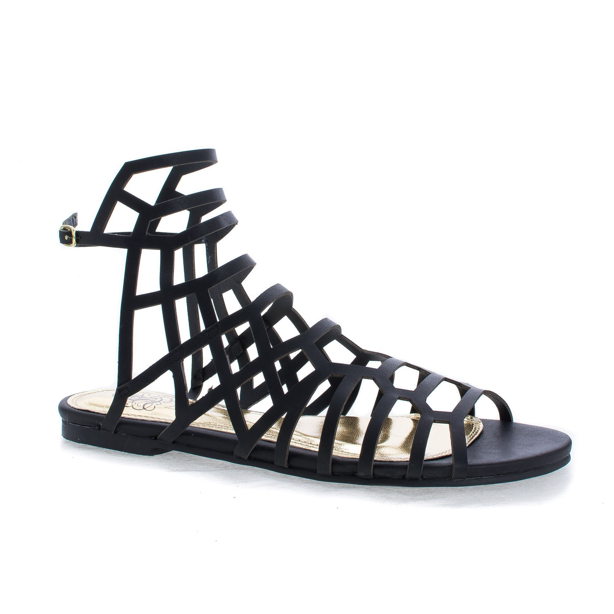 Black evening sandals flat - Ciciml Open Toe Honeycomb Caged Ankle Flat Sandals