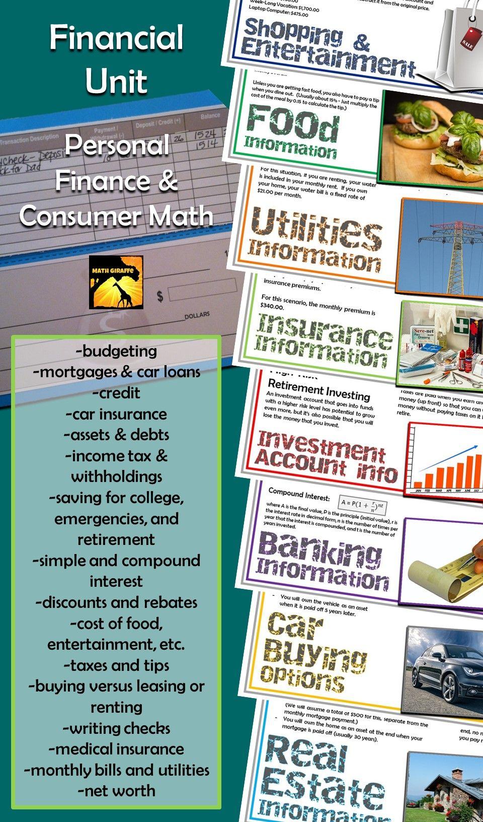 Consumer Math & Personal Finance - Complete Unit | High school ...