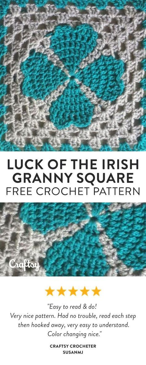 Feeling Lucky Try Crocheting This Four Leaf Clover Granny Square