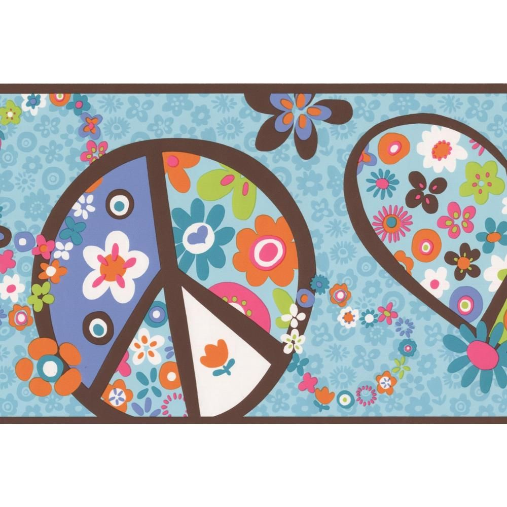 York Wallcoverings Blue Teal White Hearts Peace Flowers