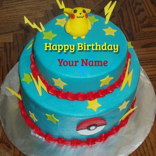 Cute And Sweet Birthday Cake With Your Name Write Name On: Write Name On Cute Pokemon Birthday Wishes Real Cake.Print