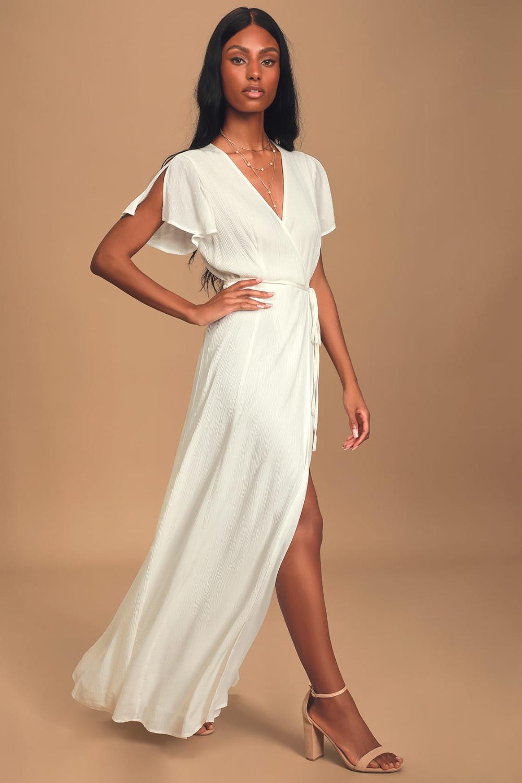Heart Of Marigold White Wrap Maxi Dress In 2021 White Long Sleeve Dress Maxi Wrap Dress Maxi Dress [ 1500 x 1000 Pixel ]