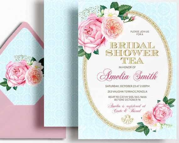 Bridal Shower Tea Party Invitation High Tea Kitchen Tea Pink Gold