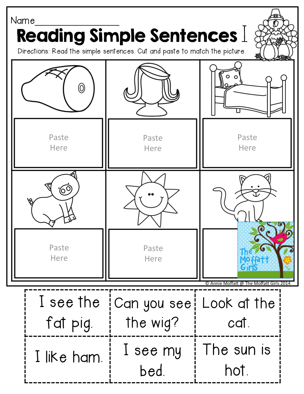 Simple Sentences for BEGINNING and/or STRUGGLING readers