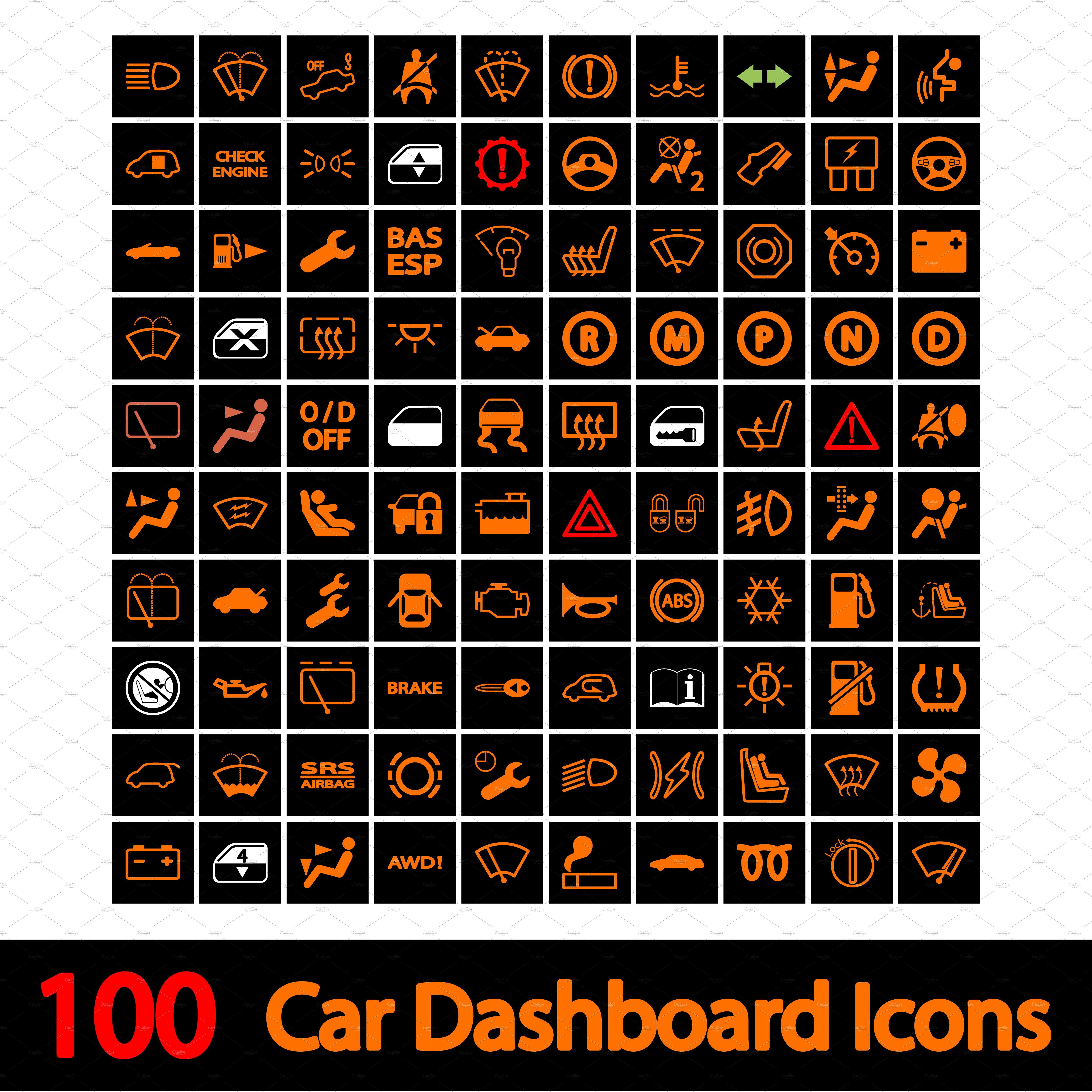 100 Car Dashboard Icons By Oleksii On Creativemarket Icon Car Vector Illustration
