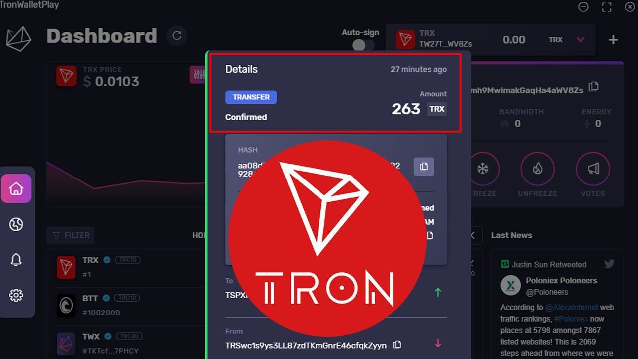 Howto Check Transaction Desktop Tron Wallet Crypto Wallets Info In 2020 Bitcoin Transaction Crypto Bitcoin Howto