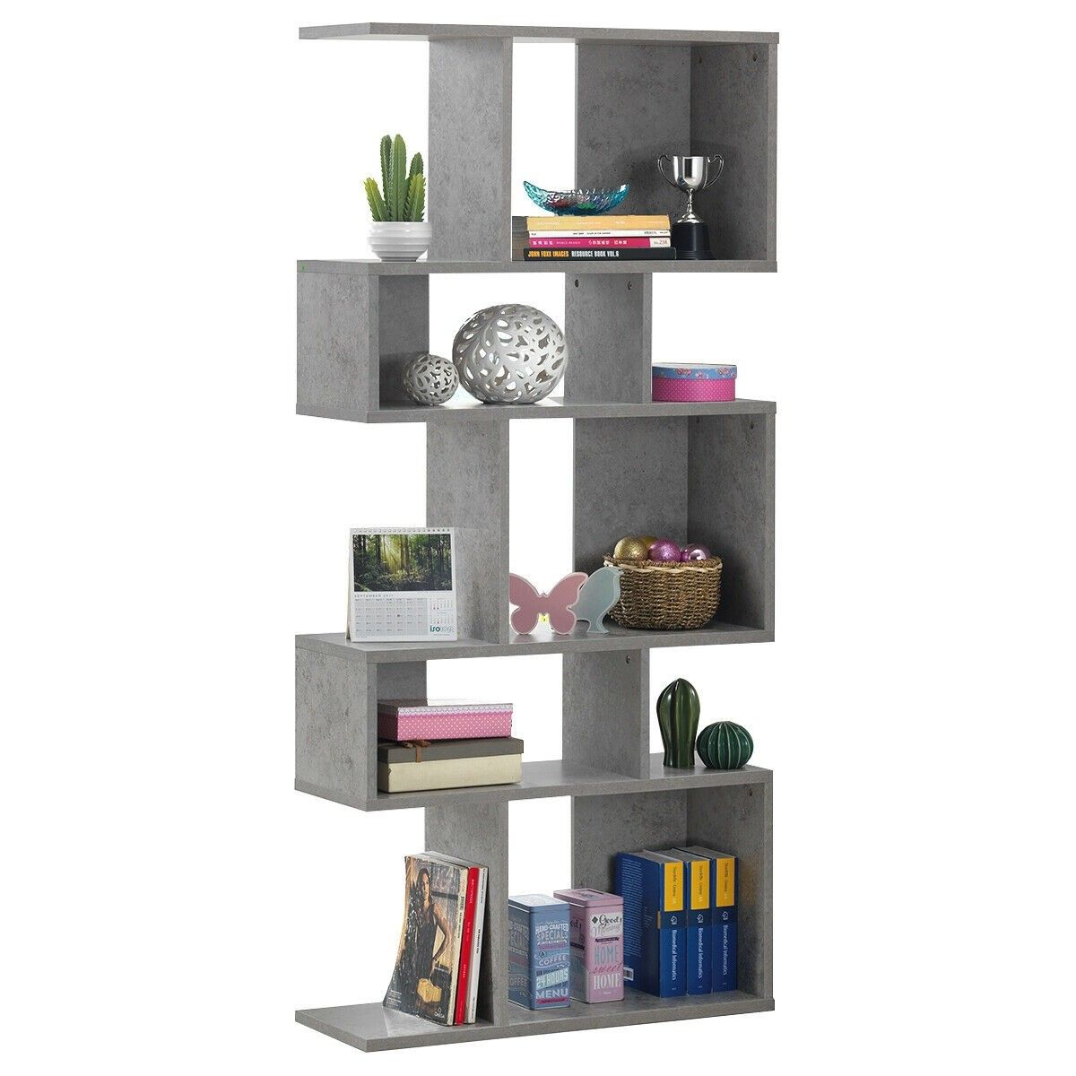 5 Cubes Ladder Shelf Corner Bookshelf Display Rack Bookcase In