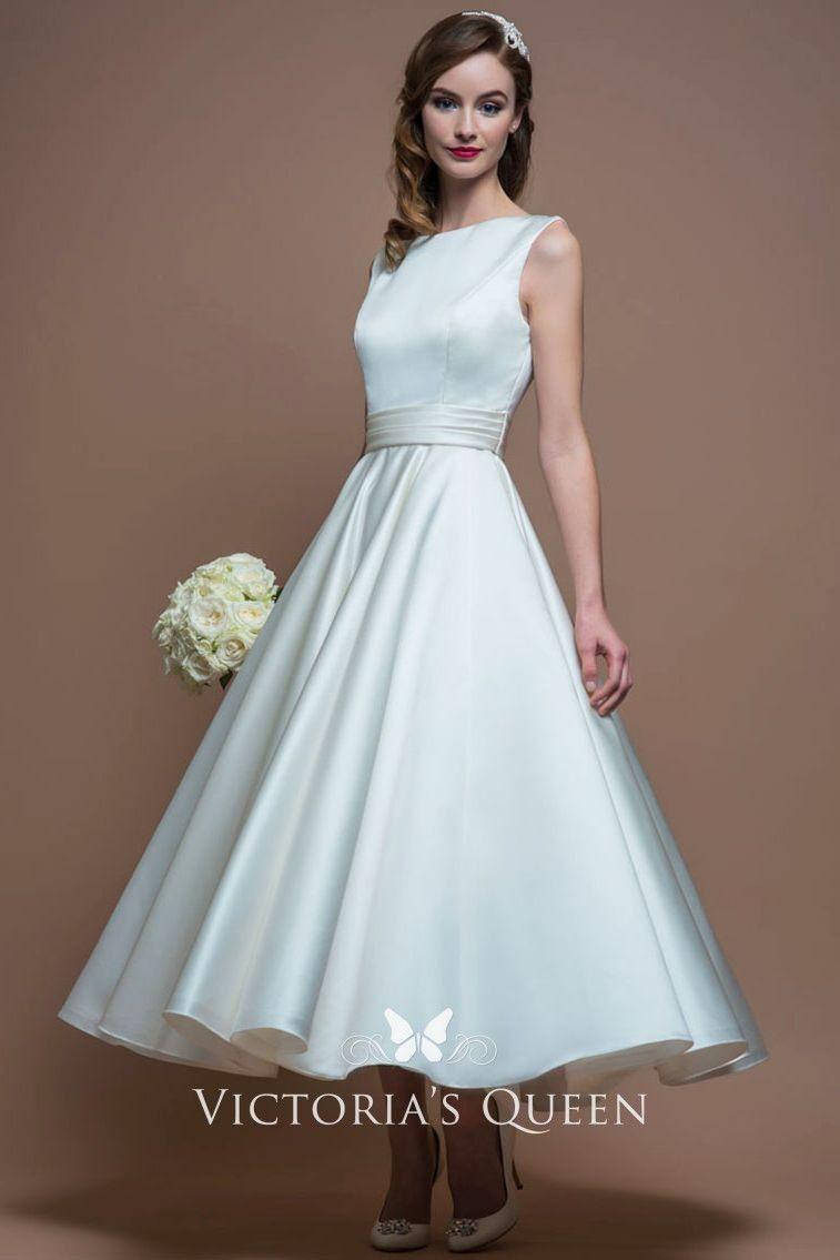 Tea Length A Line Bateau Neck Ivory Satin Wedding Dress Short Wedding Dress Tea Length Wedding Dress Short Bridal Gown [ 1135 x 757 Pixel ]