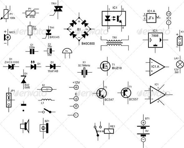 electronic circuit diagram components symbols