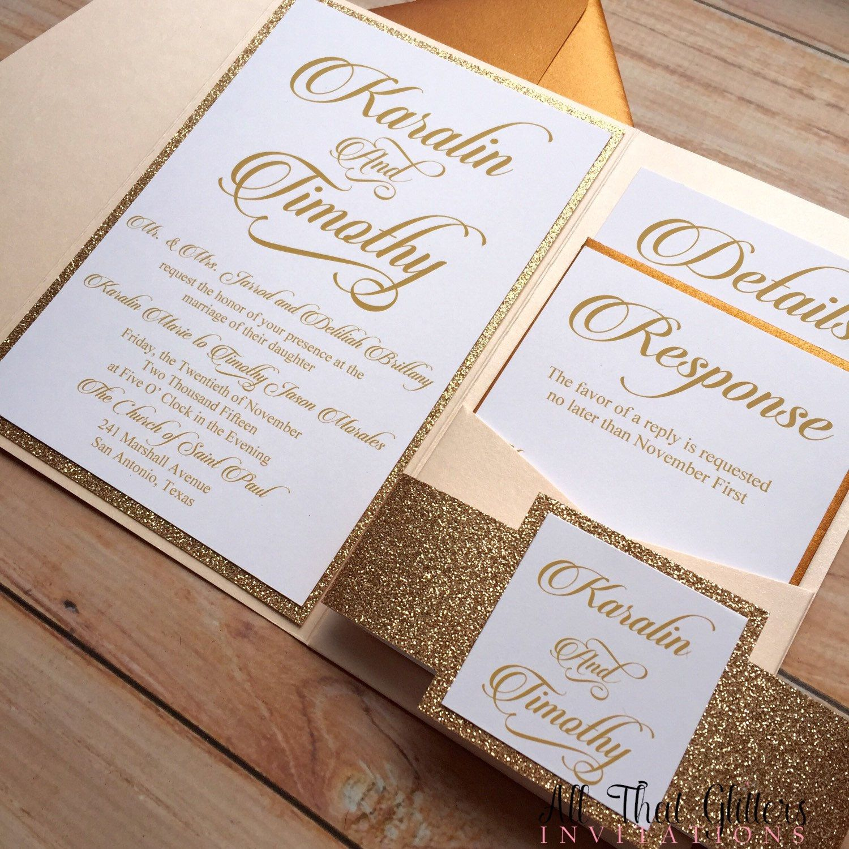 wedding stationery folders%0A Glitter wedding invitations rose gold wedding by ATGInvitations