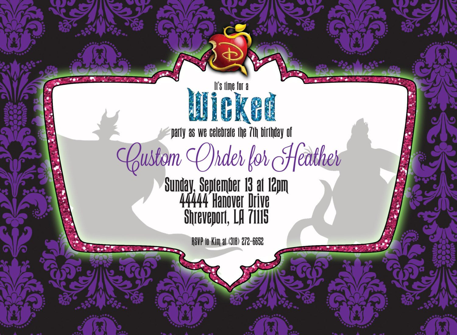Custom Disney Descendants Invitation for Heather by PaperCannonDesigns on Etsy