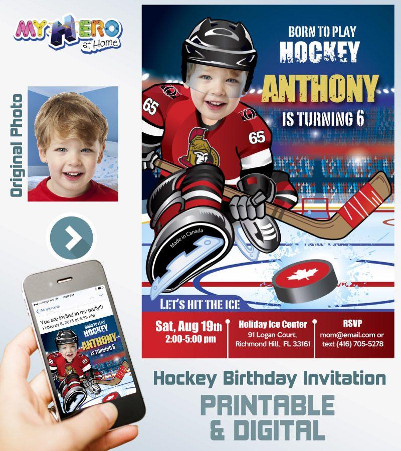Ottawa Senators Birthday Invitation Party Ideas Hockey