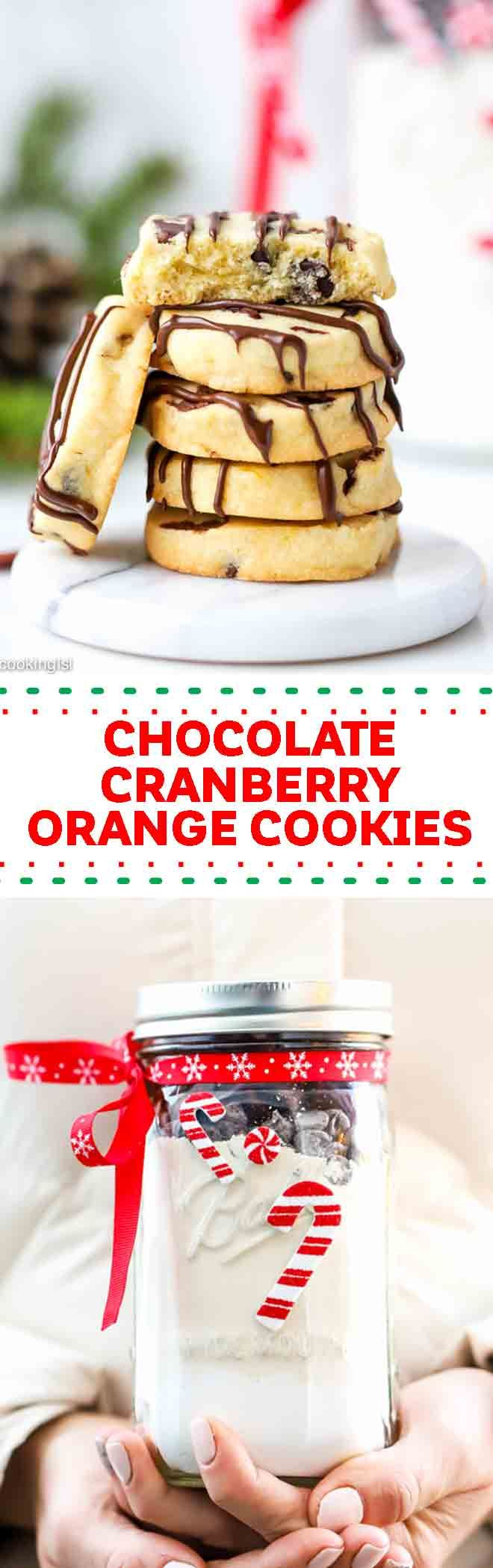 These slice and bake chocolate orange cranberry cookies