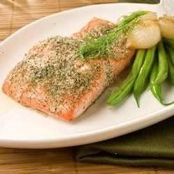 Baked Salmon With Onion Powder And Dried Dill Weed.