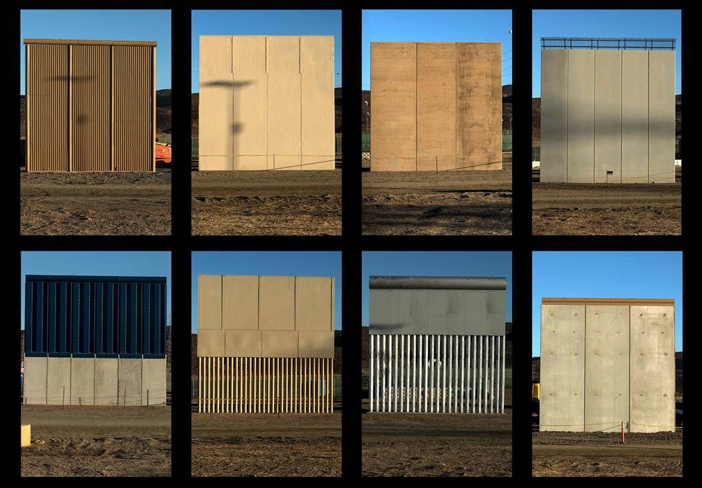 Ready For Their Close Up Trump Inspects Border Wall Prototypes Us Mexico Border Wall Trump Wall Wall Borders