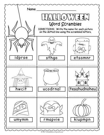 It's just a picture of Free Printable Halloween Worksheets pertaining to puzzle