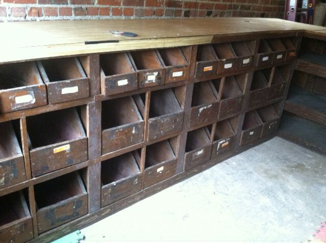 This vintage seed bin cabinet from an old hardware store is now in our  garage! - This Vintage Seed Bin Cabinet From An Old Hardware Store Is Now In