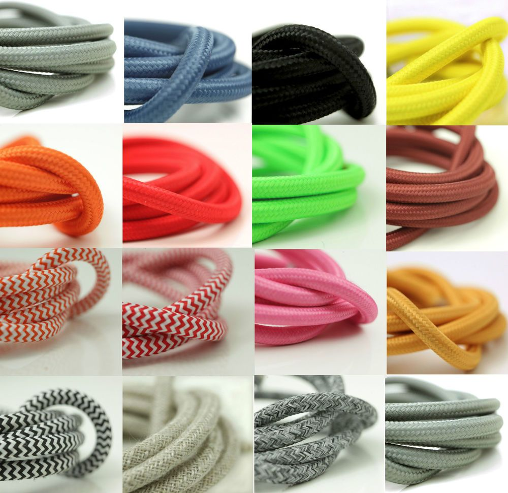 fabric lighting cable 3 core. FABRIC CABLE FLEX | Braided In Italian Fabric 3 Core Sold Per Meter Lighting Cable I