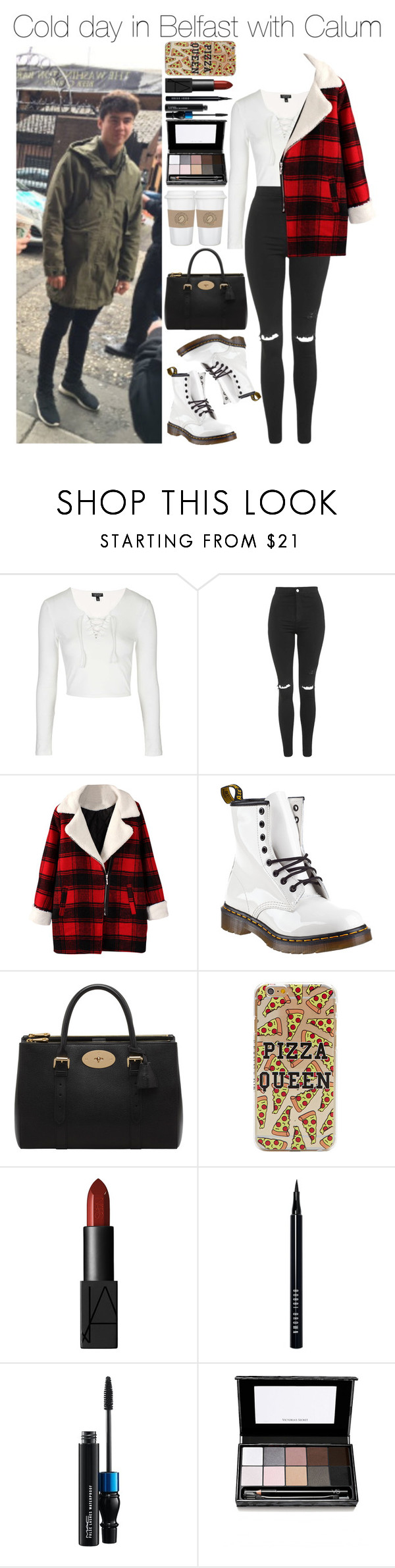 """""""Cold day in Belfast with Calum"""" by xhoneymoonavenuex ❤ liked on Polyvore featuring Topshop, Dr. Martens, Mulberry, NARS Cosmetics, Bobbi Brown Cosmetics, MAC Cosmetics and Victoria's Secret"""