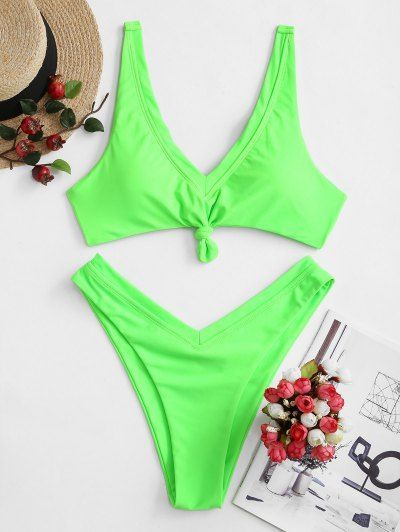 ZAFUL Neon V-cut Knot Bikini Swimsuit   HOT PINK YELLOW GREEN – Swimsuit