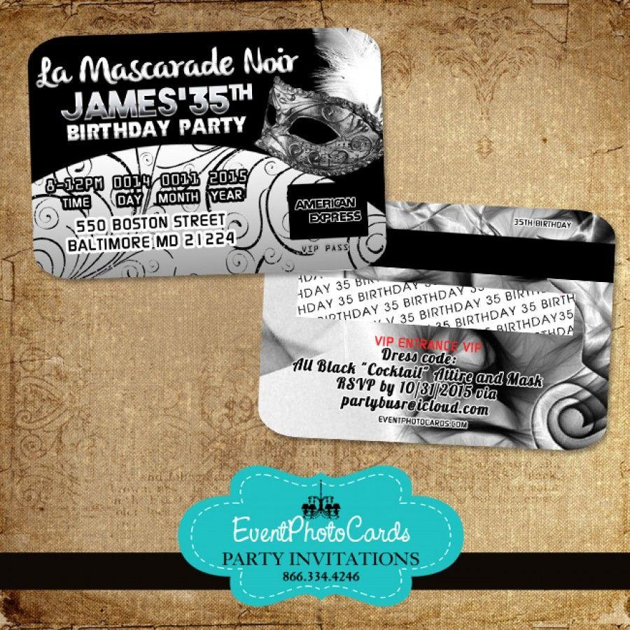 Silver Masquerade 35th Birthday - Credit Card | Invitations that ...