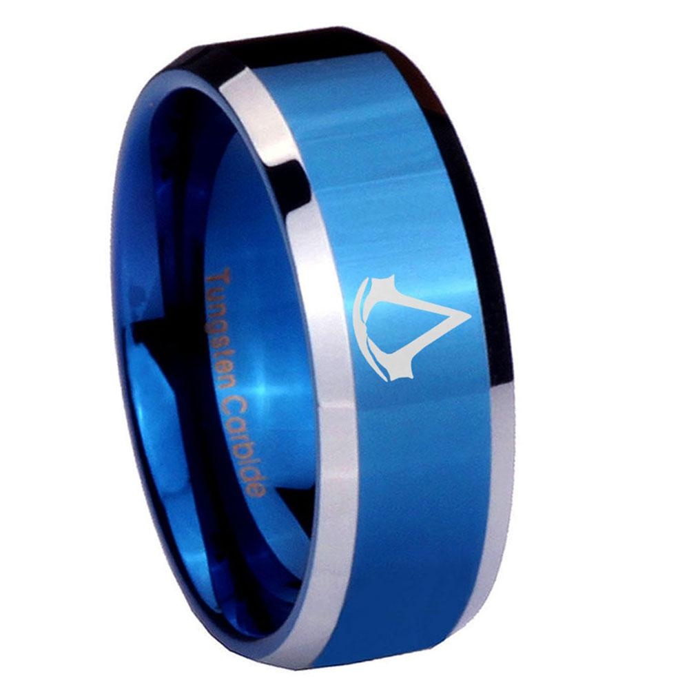8mm Assassin's Creed Beveled Edges Blue 2 Tone Tungsten