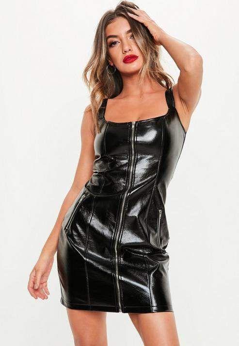 ee93d776e09 Women s Mesh Leather Bodycon Short Mini Dress Sexy Wet Look Lingerie Club  Wear
