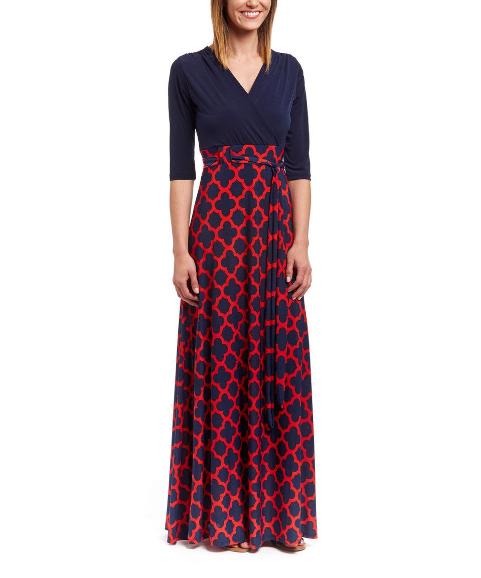 This navy u red quatrefoil surplice maxi dress by glam is perfect