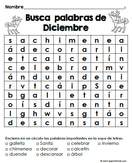 Bilingual creative writing for december christmas - Sopa de letras de navidad ...