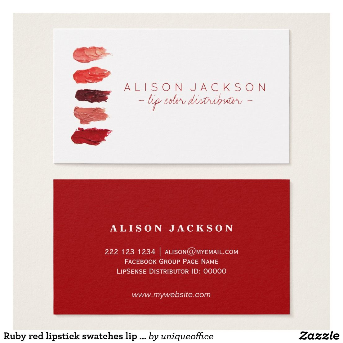 Ruby Red Lipstick Swatches Lip Color Distributor Business Card