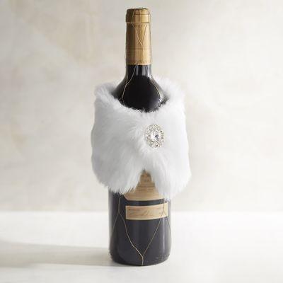 White Faux Fur Stole Bottle Decor   Pier 1 Imports