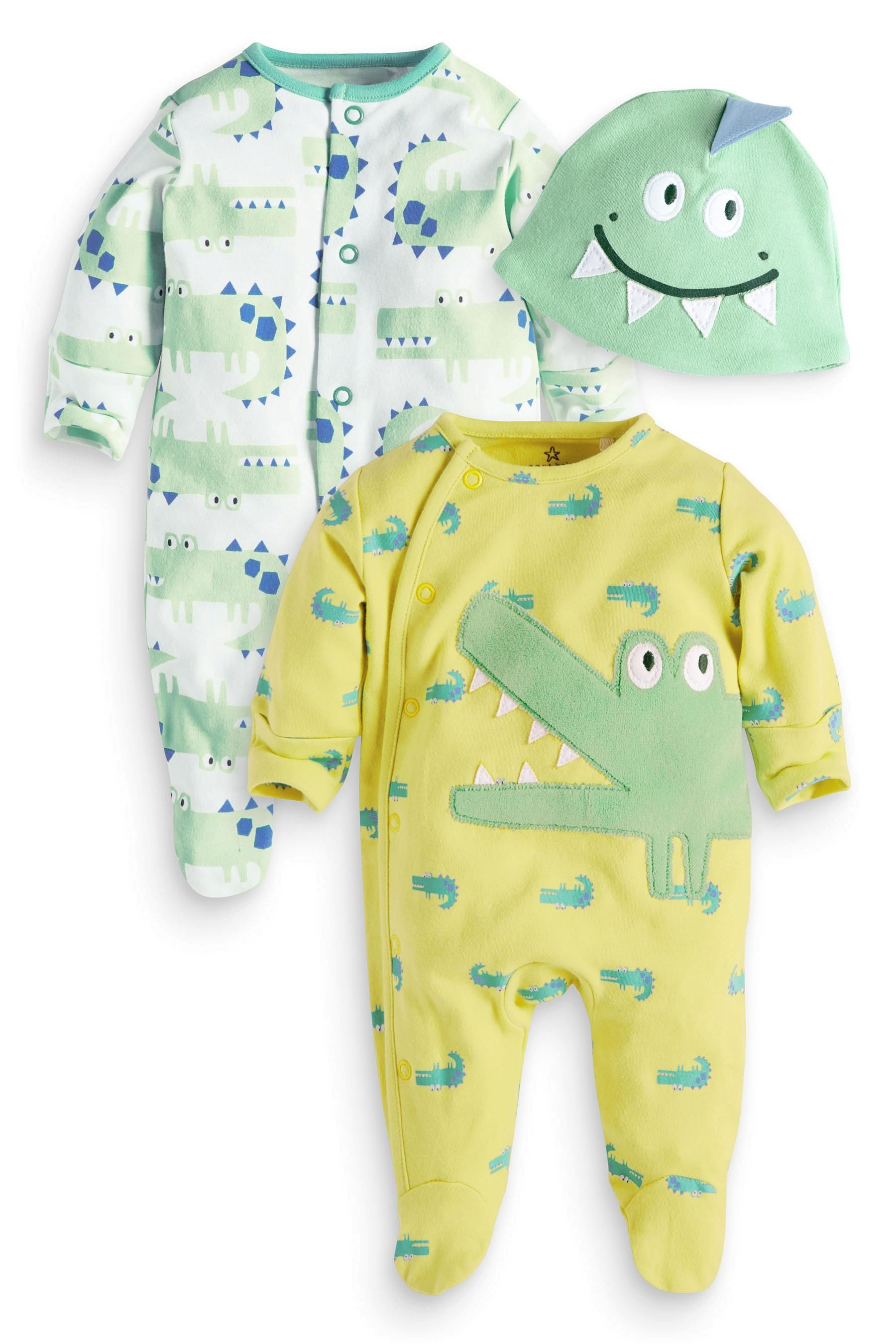 Buy Two Pack Croc Sleepsuits And Hat 0mths 2yrs From The Next Uk